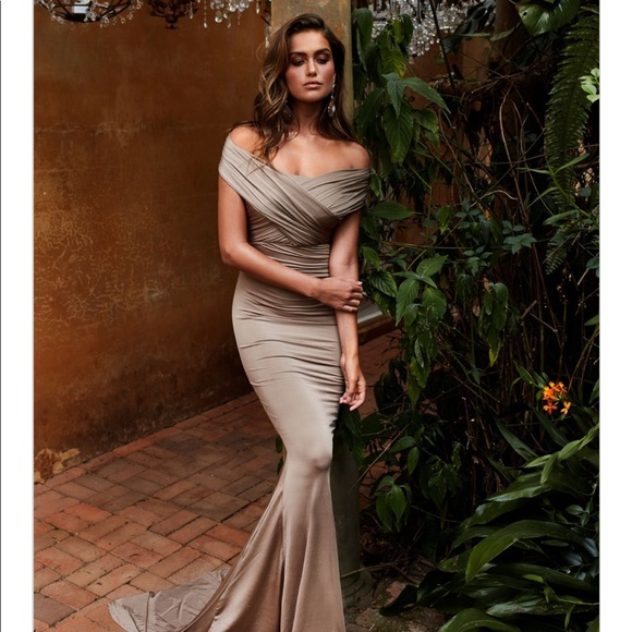 2fc794a7362 Campanule Off-Shoulder Gown-Bronze. NWT. Alamour the Label